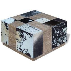 Vidaxl stolik kawowy z elementami ze skóry bydlęcej 60x60x36 cm (8718475523956)
