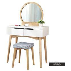 toaletka gaga biała - dąb z okrągłym lustrem i stołkiem marki Selsey