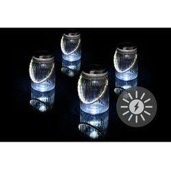 Zestaw 4 sztuk oświetlenia solarnego – szklane, wiszące