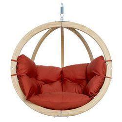 Fotel hamakowy drewniany, Czerwony Globo chair