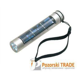 Latarka w lekkiej aluminiowej obudowie z bateriami słonecznymi, przyciskiem ON/OFF i wbudowanymi diodami z ka