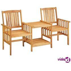 Vidaxl krzesła ogrodowe ze stolikiem, 159x61x92 cm, lita akacja