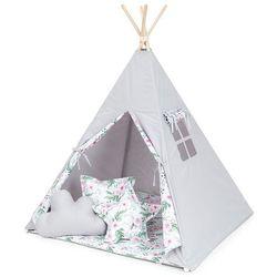 namiot tipi duży z matą i poduszkami popiel / różany ogród marki Mamo-tato