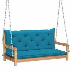 Drewniana huśtawka z błękitną poduszką - Paloma 2X