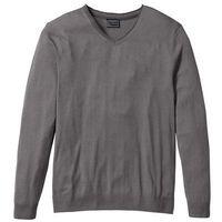 Sweter z kaszmirem i dekoltem w serek, regular fit  dymny szary, Bonprix, S-XXXXL