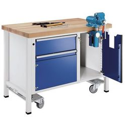 Stół warsztatowy do montażu,ruchomy, z 1 szufladą i imadłem marki Anke werkbänke - anton kessel