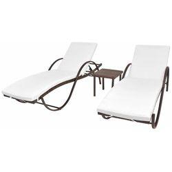 leżaki ze stolikiem, 5 części, polirattan, brązowy marki Vidaxl