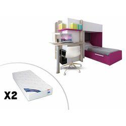 Łóżko piętrowe SAMUEL – 2 × 90 × 190 cm – wbudowane biurko – kolor sosna biała i różowy – 2 materace ZEUS 90 × 190 cm