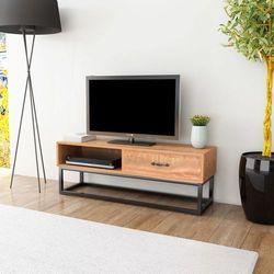 Vidaxl szafka pod telewizor mdf, stal, 120x35x45 cm, brązowa (8718475559733)