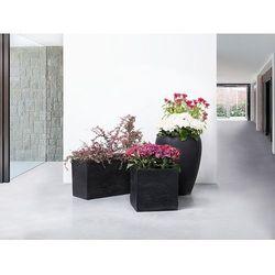 Doniczka czarna - ogrodowa - balkonowa - ozdobna - 30x30x30 cm - PULU (7081458056484)