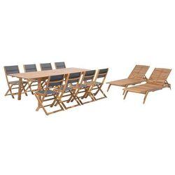 Zestaw ogrodowy drewniany 8-osobowy textilene ciemnoszary 2 leżaki CESANA