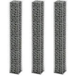 vidaXL Kosze gabionowe z ocynkowanego drutu stalowego 3 szt. 25 x 197 cm