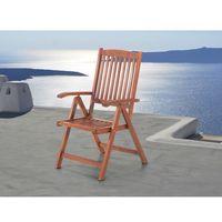 Beliani Drewniane krzesło ogrodowe - regulowane oparcie - toscana