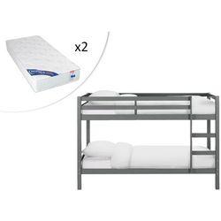 Łóżko piętrowe anicet - 2 × 90 × 200 cm - lite drewno sosnowe - szary - z materacem marki Vente-unique