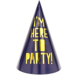 """Partydeco Czapeczki papierowe """"lets celebrate"""", granatowe, , 15,5 cm, 6 szt"""