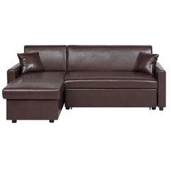Sofa narożna rozkłada ze schowkiem prawostronna brązowa OGNA, kolor brązowy