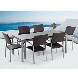 Stół ogrodowy 180 cm granit i aluminium 6 krzeseł - torino czarny polerowany marki Beliani