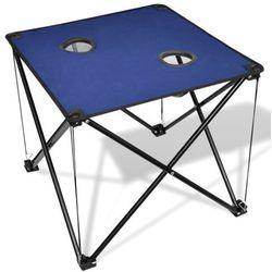 vidaXL Składany stół kempingowy niebieski