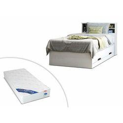 Łóżko BORIS z szufladami i półkami - biały - 90 × 190 cm + materac ZEUS 90 × 190 cm