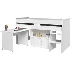 Vente-unique.pl Łóżko marcelle - z biurkiem i miejscem do przechowywania - 90x200 cm - kolor biały