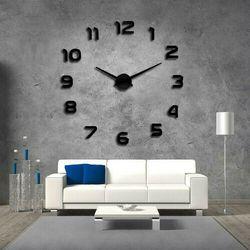 Nowoczesny zegar ścienny czarny CYFRY 3D czarny większa niż 50 cm