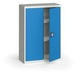 Szafa metalowa, 1150 x 800 x 400 mm, 2 półki, szara/niebieska, kolor niebieski