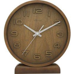Zegar stołowy Nextime Wood Wood mały, brązowy, kolor brązowy
