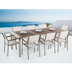 Meble ogrodowe - stół ze stali nierdzewnej 220 cm z drewnianym blatem z 8 białymi krzesłami - grosseto, marki Beliani