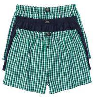 Bokserki z tkaniny (3 pary)  ciemnoniebiesko-zielony w kratę marki Bonprix