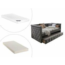 Kanapa z wysuwanym łóżkiem LOUISE – 2 × 90 × 190 cm – tkanina w kolorze szarym, w zestawie z materacem