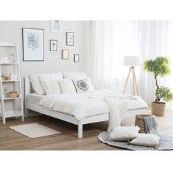 Łóżko drewniane białe ze stelażem 160 x 200 cm TANNAY (4260624119564)
