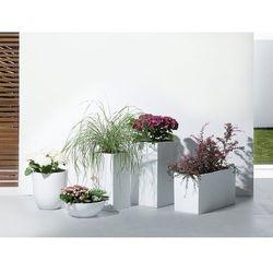 Beliani Doniczka biała - donica na balkon - ogrodowa - 55x55x19 cm - muritz