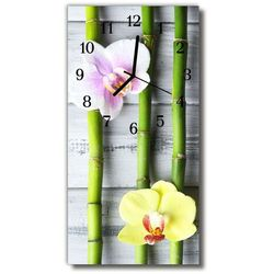 Zegar Szklany Pionowy Kwiaty Bambusowy storczyk kolorowy, kolor wielokolorowy