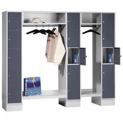 System garderob ze schowkami, 15 przedziałów na zewnątrz / w środku, 15 wieszakó
