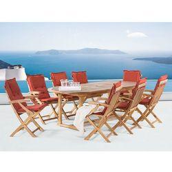 Meble ogrodowe - stół rozkładany - 8 krzeseł terracotta poduszki - JAVA