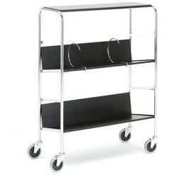 Wózek na segregatory, 750x290mm, 2 półki, górny blat, czarny marki Aj produkty