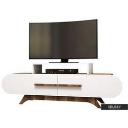 SELSEY Szafka RTV Ovalia 145 cm z białym frontem (5903025274089)