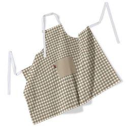 fartuch szefa kuchni męski, beżowo biała kratka (1,5x1,5cm), 123x100 cm, quadro, marki Dekoria