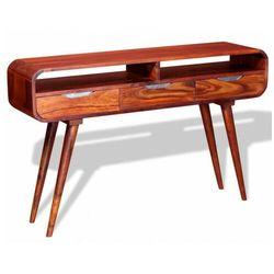 Drewniana konsola z szufladami i półką - Sena, vidaxl_243951