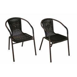 Komplet 2 x krzesła ogrodowe Garth rattanowe - czarne z brązową strukturą