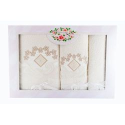 Ekskluzywny komplet 3 żółtych ręczników z bawełny marki Malwa