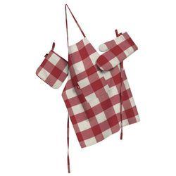 Dekoria Komplet kuchenny łapacz, rękawica oraz fartuch, czerwono biała krata (5,5x5,5cm), kpl, Quadro