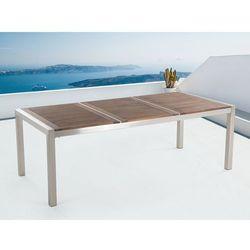 Stół ze stali nierdzewnej 220 cm - drewniany - trzyczęściowy - blat - grosseto, marki Beliani