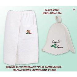 Pakiet logo - Kilt Ręcznik 70*140cm 100% Bawełna + Czapka biała do sauny D