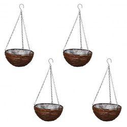 Okrągły kosz wiklinowy, donica z elementami do podwieszenia (x4) - sprawdź w VidaXL