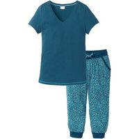Piżama ze spodniami 3/4 bonprix niebieskozielono-turkusowy z nadrukiem