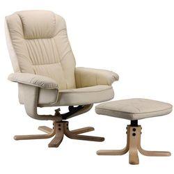 Regoline Fotel masujący wypoczynkowy z masażem + ogrzewanie - kremowy / ecru