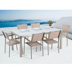 Stół szklany biały - 180 cm - z 6 beżowymi krzesłami - GROSSETO (4260580928194)
