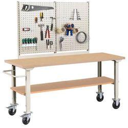Mobilny stół roboczy ROBUST, z wyposażeniem, 2000x800 mm, płyta HDF, 25983