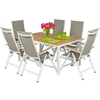 Meble ogrodowe składane aluminiowe verona legno stół i 6 krzeseł - białe - deski polywood marki Edomator.